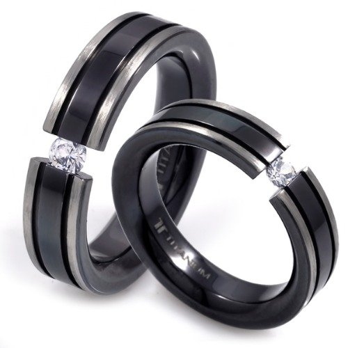 T-231 CO - TATIAS, Black Titanium Couple Ring