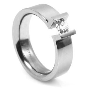 T-715 DIA - TATIAS, Titanium Ring set with Diamonds