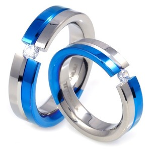 T-227 DIA CO - TATIAS, Titanium Couple Ring set with Diamonds