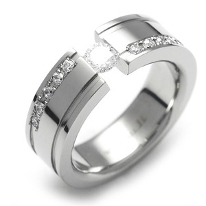 TW-337 DIA - TATIAS, Titanium Ring set with Diamonds