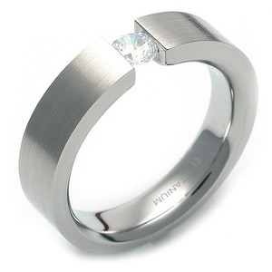 TW-012 DIA - TATIAS, Titanium Ring set with Diamonds