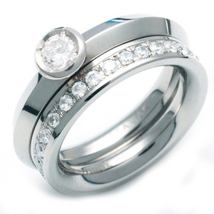 TW-971 DIA - TATIAS, Titanium Ring set with Diamonds