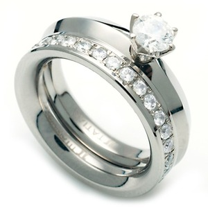 TW-972 DIA - TATIAS, Titanium Ring set with Diamonds