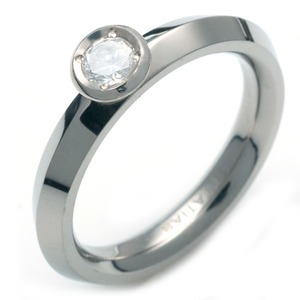 T-978 DIA - TATIAS, Titanium Ring set with Diamonds