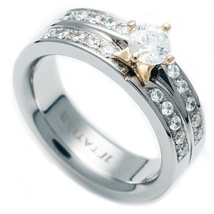 TW-637 DIA - TATIAS, Titanium Ring set with Diamonds