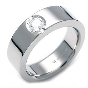 TW-061 DIA - TATIAS, Titanium Ring set with Diamonds