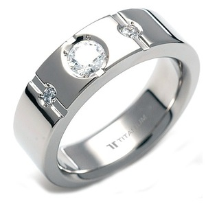 TW-059 DIA - TATIAS, Titanium Ring set with Diamonds