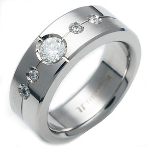 TW-635 DIA - TATIAS, Titanium Ring set with Diamonds