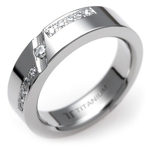 TW-281 DIA - TATIAS, Titanium Ring set with Diamonds