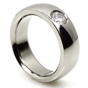 TW-002 DIA - TATIAS, Titanium Ring set with Diamonds