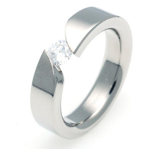 TW-013 DIA - TATIAS, Titanium Ring set with Diamonds