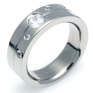TW-004 DIA - TATIAS, Titanium Ring set with Diamonds