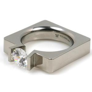 T-713 DIA - TATIAS, Titanium Ring set with Diamonds