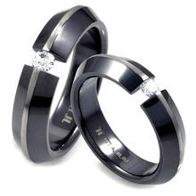 T-230 DIA CO - TATIAS, Black Titanium Couple Ring set with Diamonds