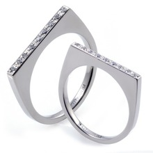 T-276 DIA CO - TATIAS, Titanium Couple Ring set with Diamonds