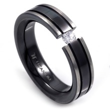 T-231 DIA - TATIAS, Black Titanium Ring set with Diamonds