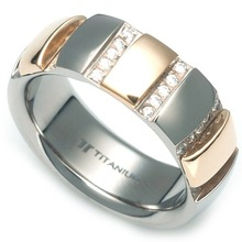 T-963 DIA - TATIAS, Titanium Ring set with Diamonds
