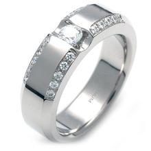 TW-058 DIA - TATIAS, Titanium Ring set with Diamonds